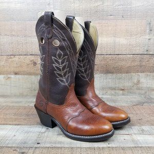 Double-H AG7 Work Western Men Sz 8 D Boot Leather Roper Cowboy Brown USA Made